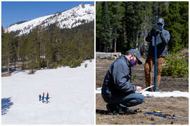 2019 vs. 2020    Left: The California Department of Water Resources snow survey of the 2019 season at Phillips Station in the Sierra Nevada Mountains on May 2, 2019. The survey recorded 47 inches of snow, which is 188% of average at this site.   Right: Sean de Guzman, chief of California Department of Water Resources (DWR), Snow Surveys and Water Supply Forecasting Section, conducts the final snow survey of the 2020 season at Phillips Station on April 30, 2020. The survey recorded 1.5 inches of snow, which is 3% of average at this site.