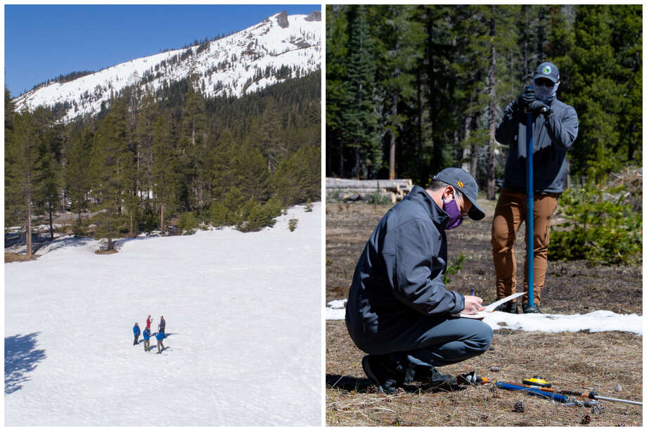 2019 vs. 2020 Left: The California Department of Water Resources snow survey of the 2019 season at Phillips Station in the Sierra Nevada Mountains on May 2, 2019. The survey recorded 47 inches of snow, which is 188% of average at this site. Right: Sean de Guzman, chief of California Department of Water Resources (DWR), Snow Surveys and Water Supply Forecasting Section, conducts the final snow survey of the 2020 season at Phillips Station on April 30, 2020. The survey recorded 1.5 inches of snow, which is 3% of average at this site. Photo: DWR