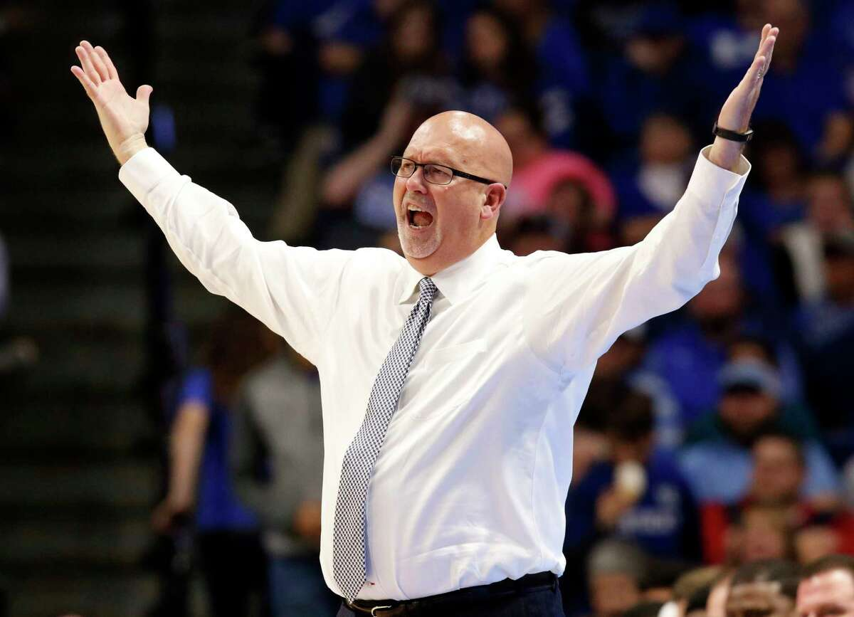 FILE - In this Nov. 17, 2017, file photo, East Tennessee State head coach Steve Forbes reacts to a play during the second half of an NCAA college basketball game against Kentucky in Lexington, Ky. Wake Forest has hired East Tennessee Statea€™s Steve Forbes as its mena€™s basketball coach. The school announced the hiring Thursday, April 30, 2020. (AP Photo/James Crisp, File)