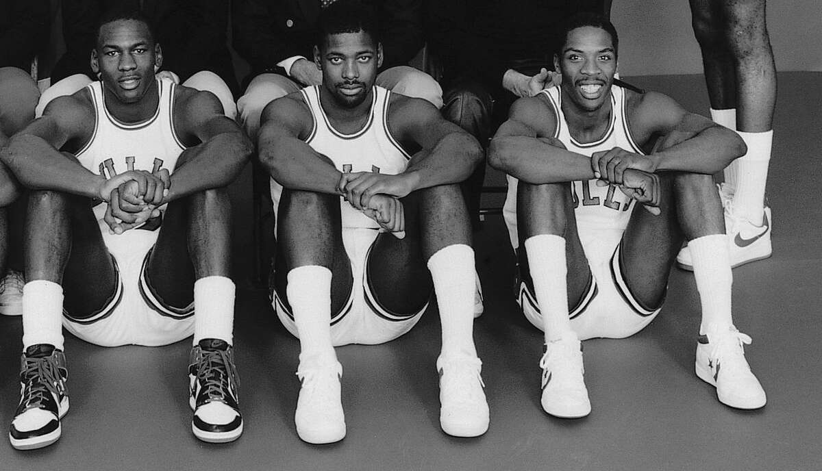 From left Michael Jordan, Quintin Dailey and Wes Matthews in the Chicago Bulls' 1984-85 team photo.