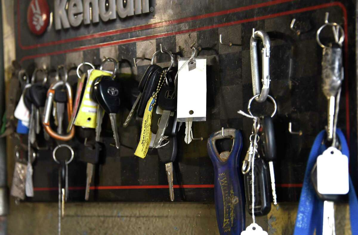 Customer car keys are seen hanging on the wall at Andex Auto Services Station on Wednesday, Tuesday, April 29, 2020 in Schenectady, N.Y. (Lori Van Buren/Times Union)