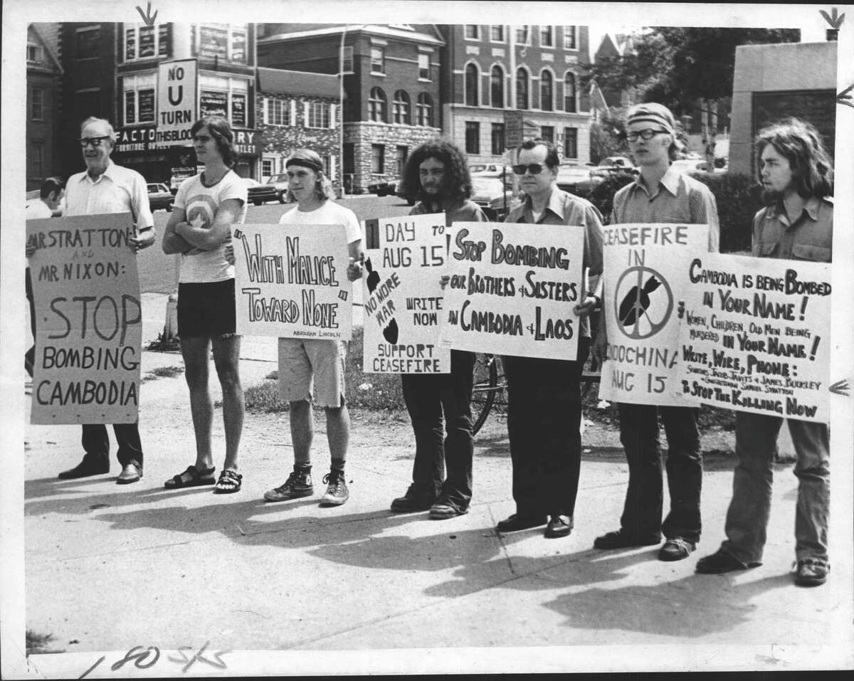 Schenectady area Clergy demonstration to stop bombing Cambodia. James B. Campbell, Rick Hind, Martin Manley, Leroy McGrane, Fred Morgan Dusenburg Jr., Philip M. Maddaus, Jim Harvey. August 15, 1973 (Bud Hewig/Times Union Archive)