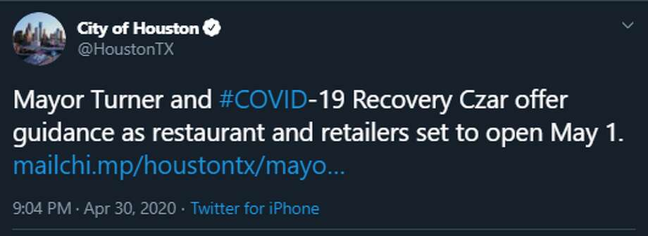 Mayor Turner offered advice for Houstonians ahead of the city's reopening of certain businesses Friday. Photo: Twitter