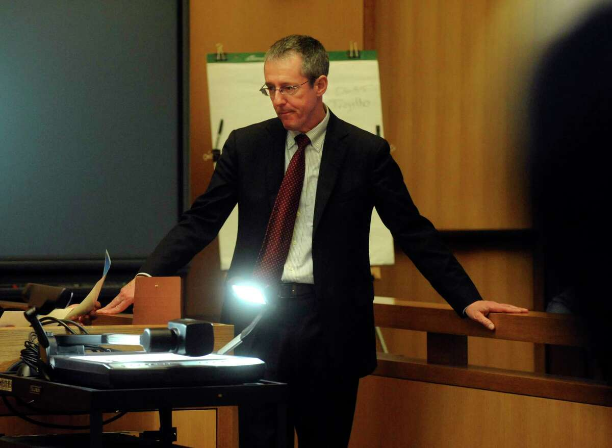 Senior Assistant State's Attorney Paul Ferencek at the murder trial of Carlos Trujillo, who is accused in the slaying of Andrew Kissel, at state Superior Court in Stamford on Tuesday, Nov. 30, 2010.