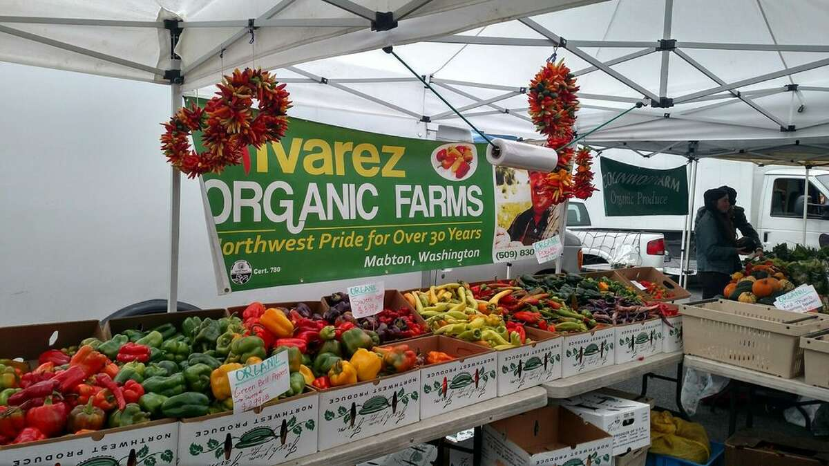 As produce stand at the West Seattle Farmers Market on October 29, 2017.