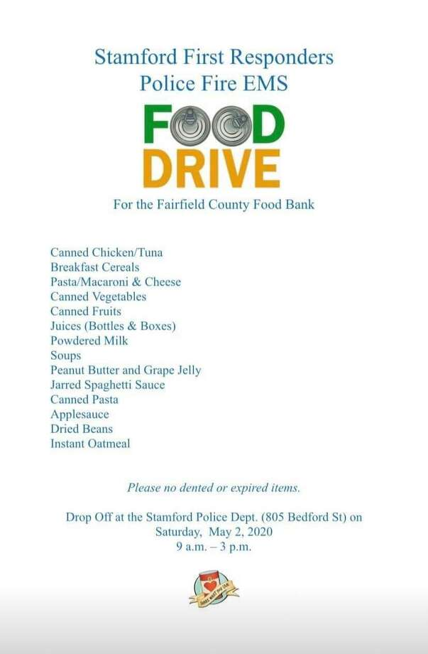 Stamford's first responders — police, firefighters and medics- are holding a food drive at police headquarters on Saturday, May 2 from 9 a.m. to 3 p.m. Photo: Stamford Police Association / Contributed