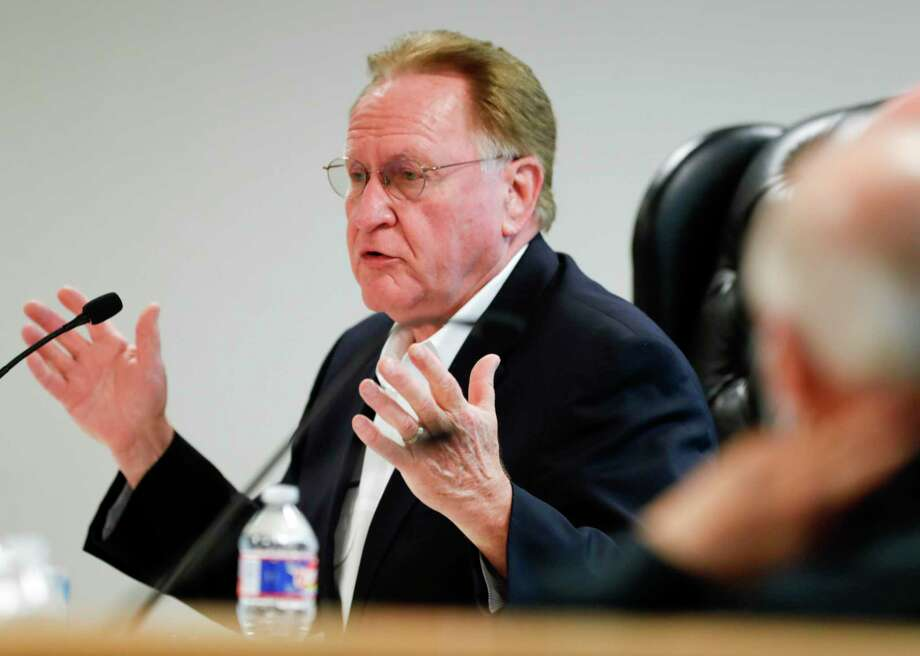 "Montgomery County Judge Mark Keough gives his thoughts on Texas Governor Greg Abbott's guidelines to reopen businesses during a Montgomery County Commissioners Court meeting, Tuesday, April 28, 2020, in Conroe. The court pushed back on Abbott's press conference, calling the guidelines ""uncommonly vague"" and ""confusing."" Photo: Jason Fochtman, Houston Chronicle / Staff Photographer / 2020 © Houston Chronicle"