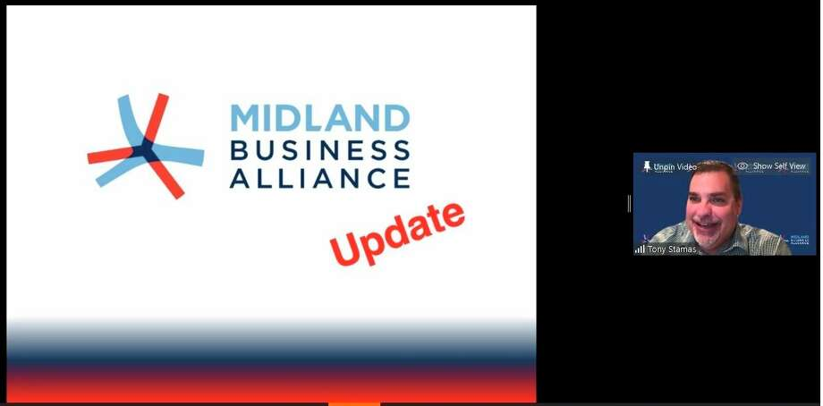 President and CEO of the Midland Business Alliance Tony Stamas gives a short update on the MBA during the WakeUp! Midland event that was held virtually via Zoom on Friday, May 1, 2020. (Screen photo)