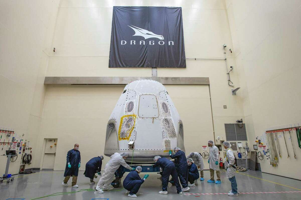 The SpaceX Crew Dragon spacecraft arrived at the launch site on Feb. 13, 2020. NASA and SpaceX are preparing for the company's first flight test with astronauts to the International Space Station as part of the agency's Commercial Crew Program.