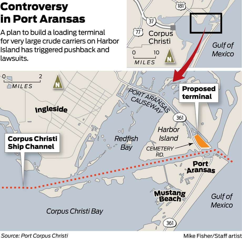 A plan to build a loading terminal for very large crude carriers on Harbor Island has triggered pushback and lawsuits. Photo: Michael Fisher/ San Antonio Express-News