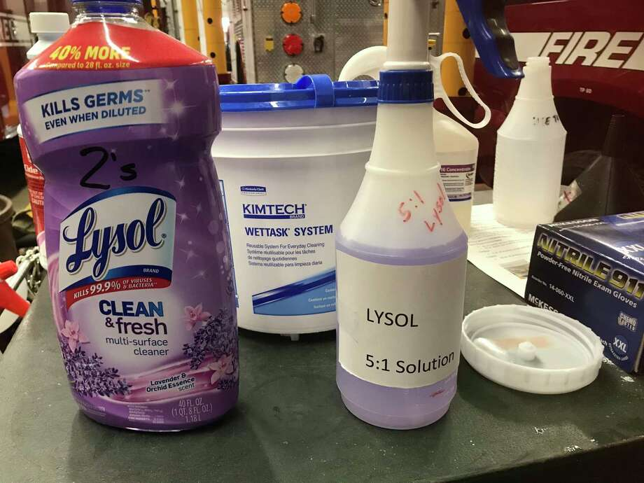 An accurately labeled bottle containing a cleaning solution. Photo: Fairfield Fire Assistant Chief Erik Kalapir