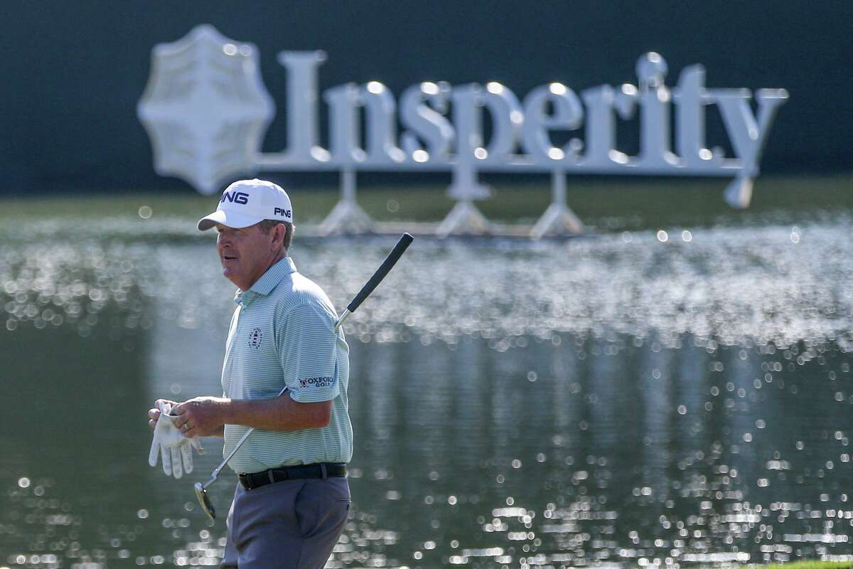 The Woodlands native Jeff Maggert walks onto the green at hole 18 during the Insperity Invitational second round on Saturday, May 7, 2016, at The Woodlands Country Club Tournament Course.