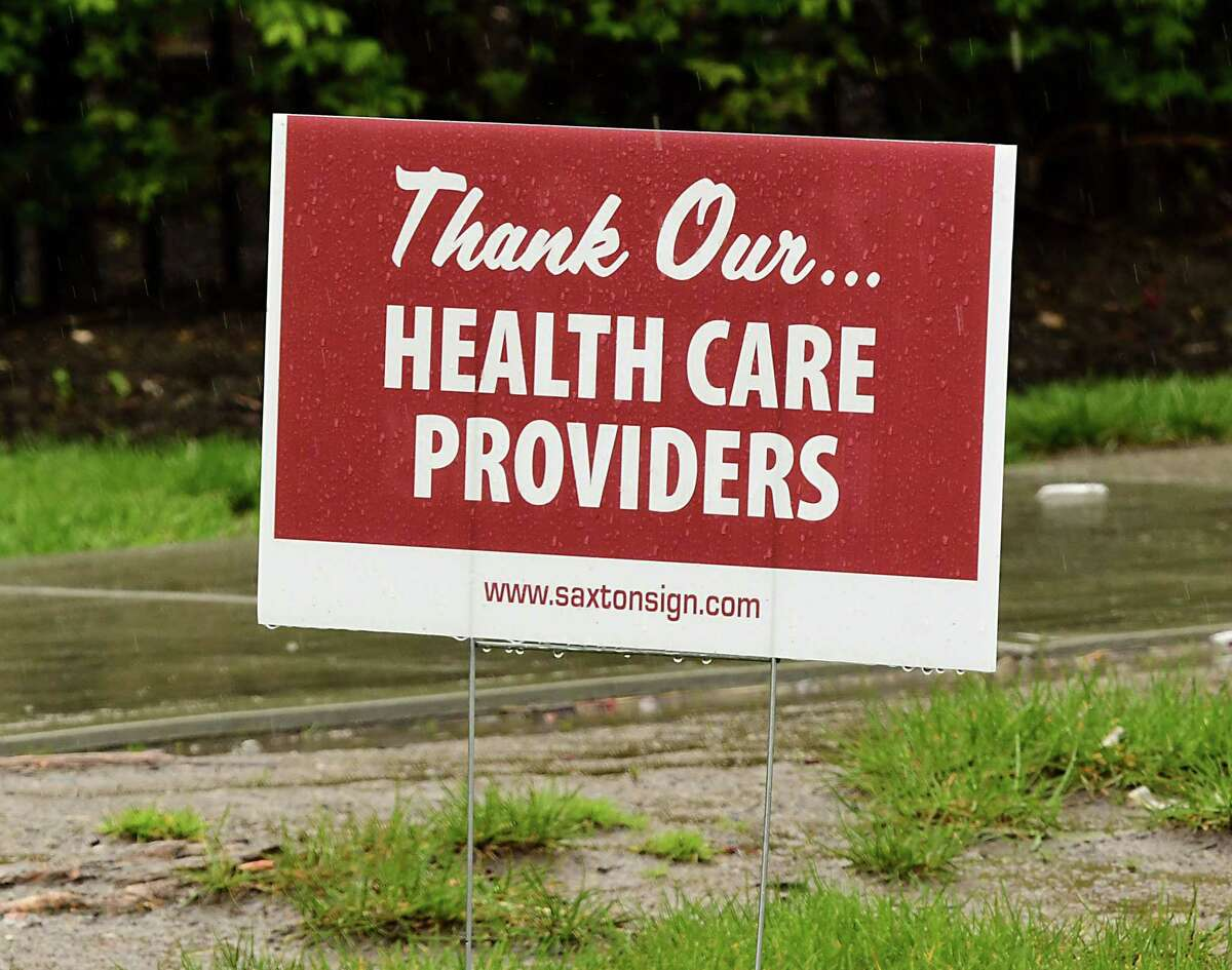 A lawn sign to thank health care workers is seen outside Albany Medical Center Hospital on Friday, May 1, 2020 in Albany, N.Y. (Lori Van Buren/Times Union)