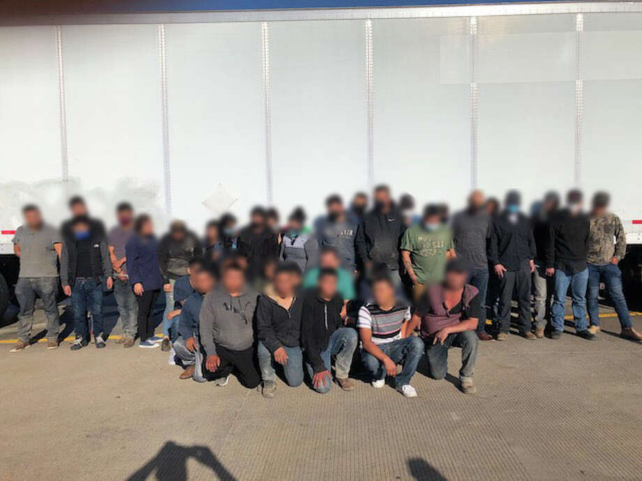 U.S. Border Patrol said these 36 individuals were in the back of a sealed trailer. All were determined to be immigrants who had crossed the border illegally. The truck driver was taken into custody for further investigation. Photo: Courtesy
