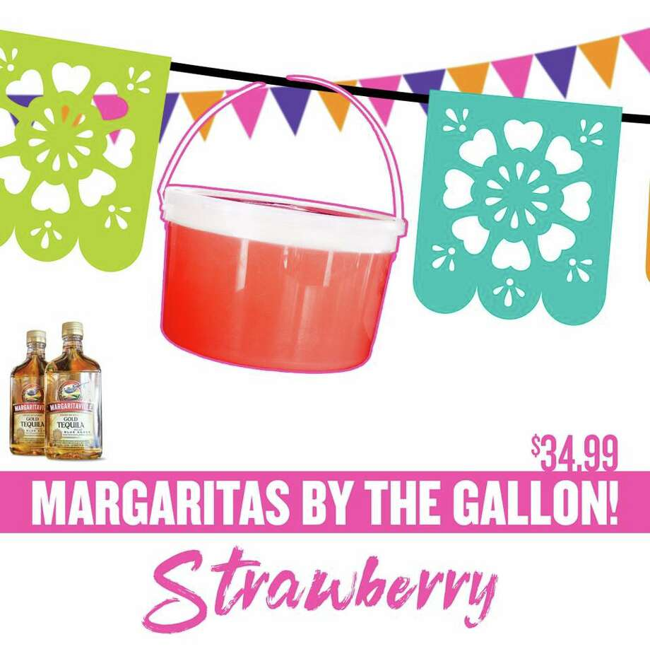 In a Cinco de Mayo-themed announcement made Thursday, the chain restaurant announced non-alcoholic lime, strawberry and mango margarita mixes are now available to-go. To make the on-the-rocks drinks, Taco Cabana says to add two 375 milliliter bottles of Margaritaville Tequila. The $34.99 price includes the gallon mix and the tequila, according to the post. Photo: Courtesy, Taco Cabana
