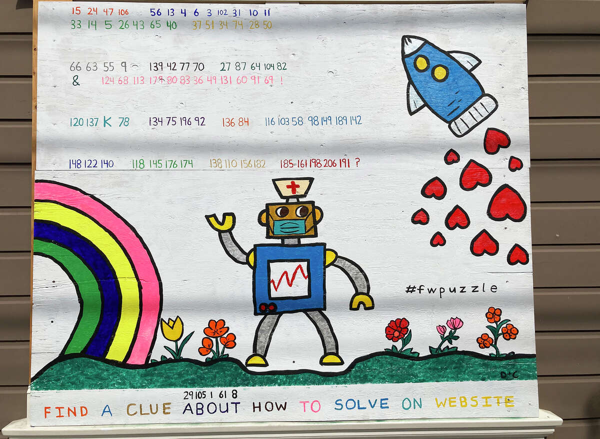 One thing Rogers has been missing most during the shelter-in-place is his neighbors, a pair of twin five-year-old boys who left San Francisco with their mother to stay with their grandparents. So he reached out to them and asked what they'd like him to paint. They settled on a robot, rocket, hearts, flowers, and a rainbow, but Rogers wanted the art to be more than just something to look at.