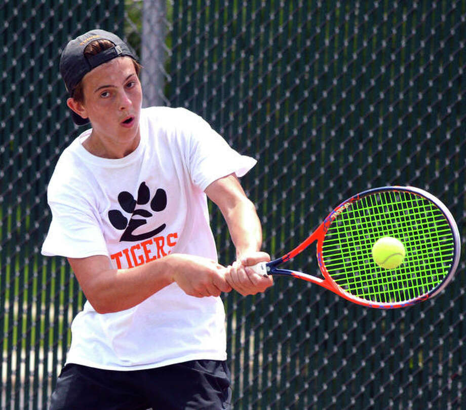 Here's a look back at pictures from last year's Edwardsville boys tennis season. The doubles team of Seth Lipee and Gabo Montanarai advanced to the consolation semifinals of the Class 2A state tournament. EHS also won regional and Southwestern Conference championships last year. Photo: Scott Marion|The Intelligencer