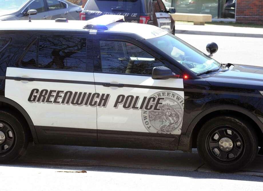 A Greenwich police car as seen at Greenwich High School, Greenwich, Conn., Wednesday afternoon, March 29, 2017. Photo: Bob Luckey Jr. / Hearst Connecticut Media / Greenwich Time
