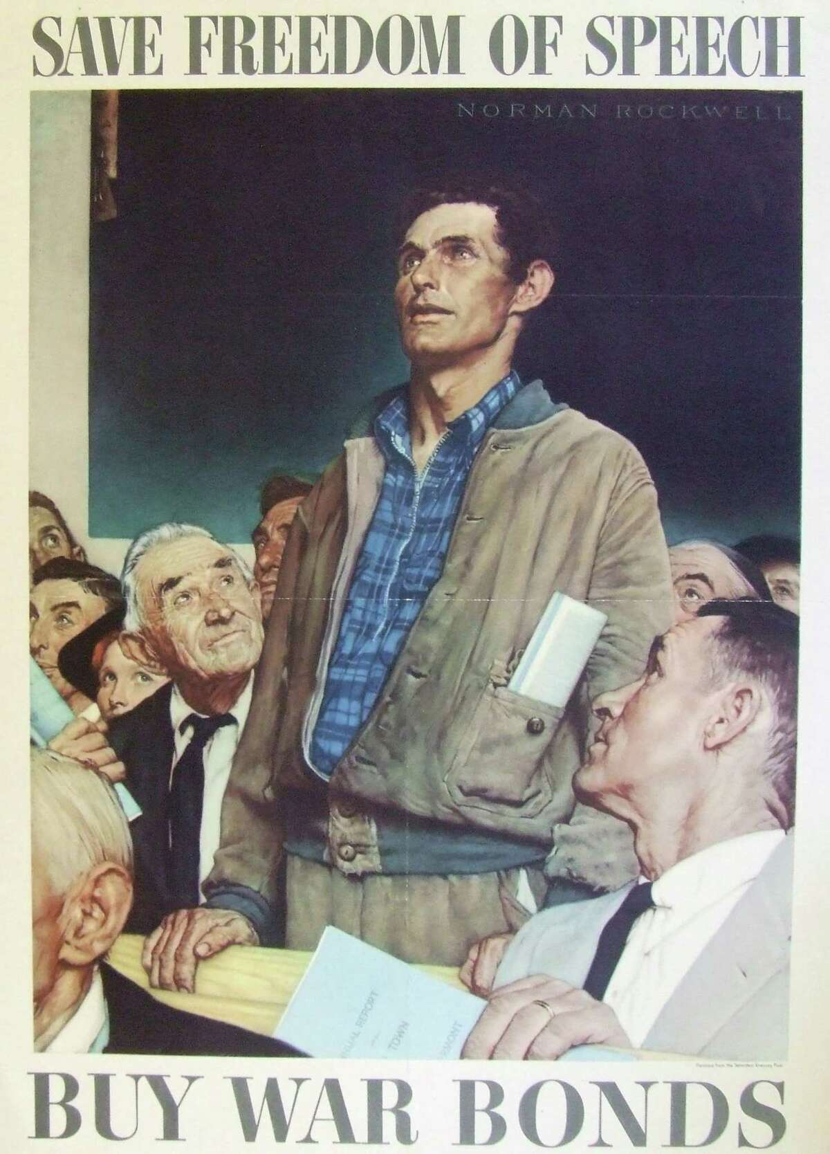 """Norman Rockwell's """"Freedom of Speech"""" --- along with his three other """"freedoms"""" illustrations --- was adopted by the U.S. Treasury to urge Americans to buy war bonds to help finance World War II. The poster is part of an exhibit of wartime posters at the Fairfield Museum and History Center. Faifield CT. January 2015."""