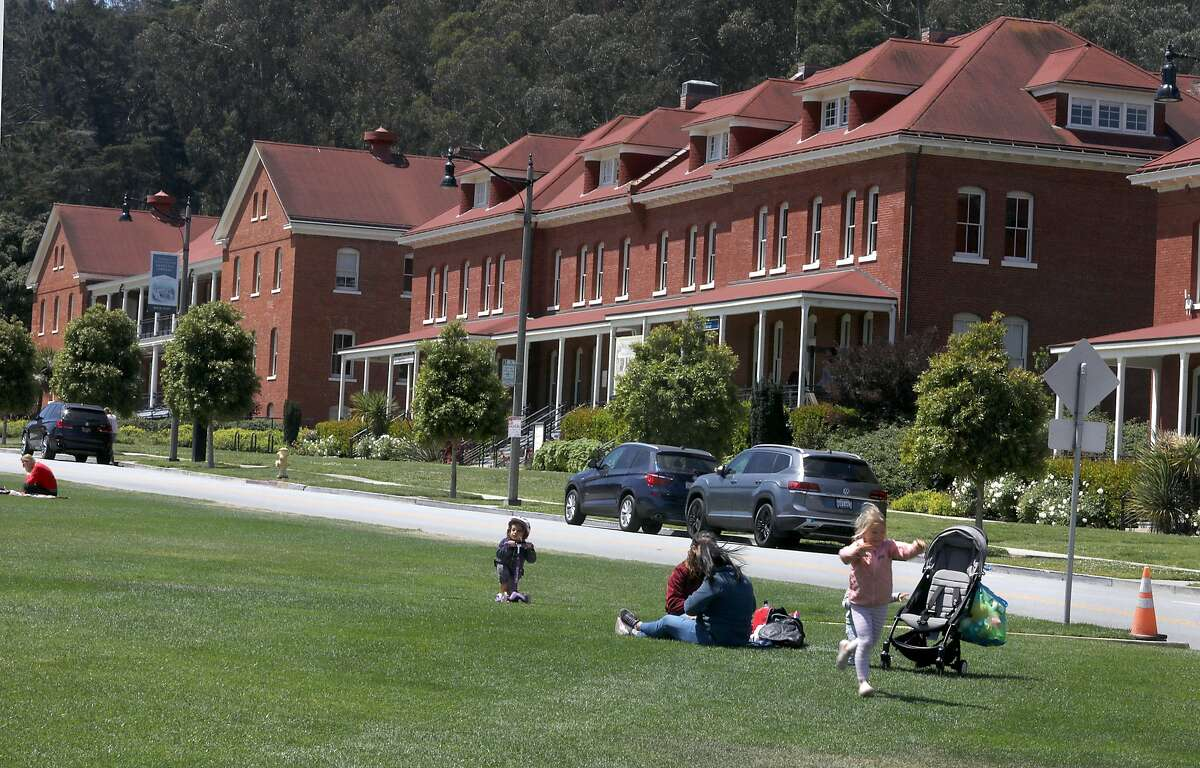 Main post parade ground with renovated buildings seen at the Presidio on Thursday, April 30, 2020, in San Francisco, Calif.