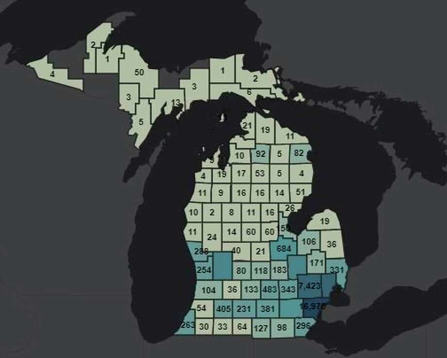 The Michigan State Police COVID-19 Summary Dashboard online shows all counties in the Lower Peninsula have reported cases of the virus and most of the Upper Peninsula has reported cases. (MSP COVID-19 Dashboard screenshot)