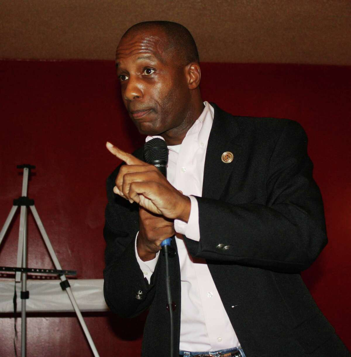 State Rep. James White was the guest speaker for the Tri-County Texas Tea Party on Aug. 14. He discussed the need to cut spending at the state and federal levels.