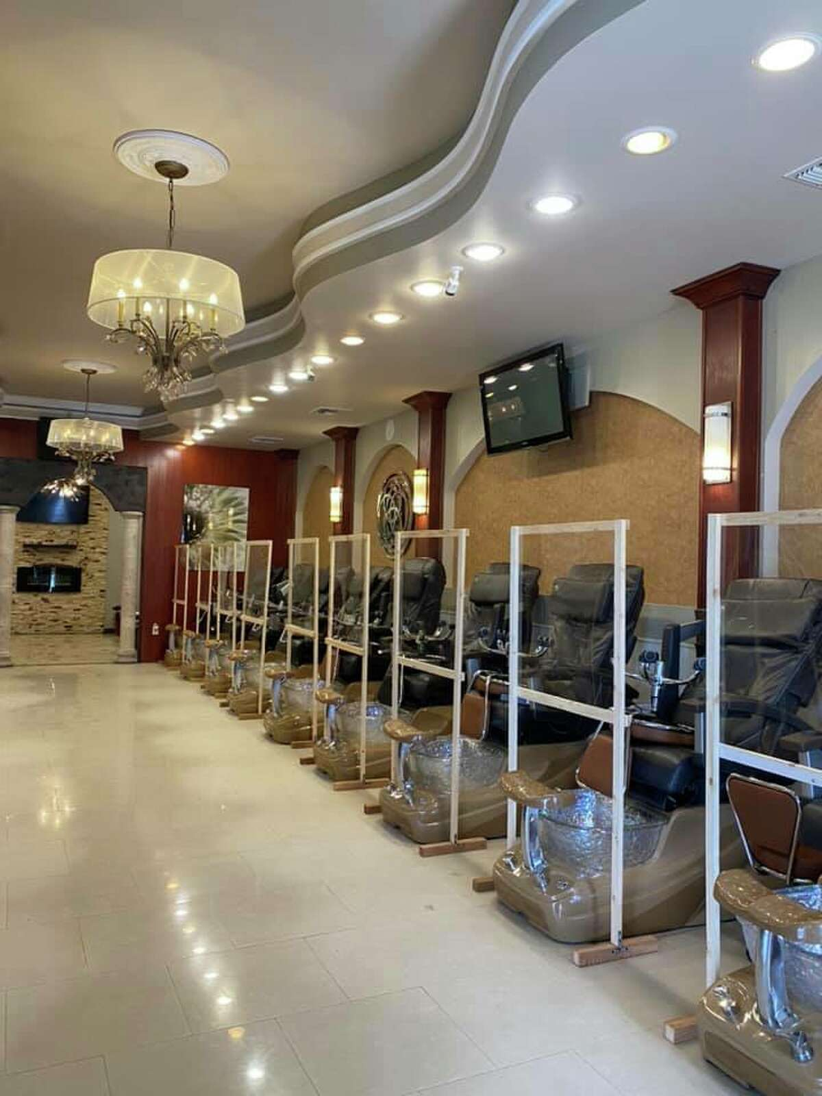 Like other salons, Vinpearl Nails and Lashes, located at 20079 Stone Oak Parkway, hasn't received approval to open its doors. The husband-wife ownership duo of Tuyet Nguyen and Tuan Do are hoping for mid-May as a possible return. In the meantime, the couple installed guards around each work station in the salon, including enclosures around pedicure chairs. The sneak-peek photos were also shared on social media.