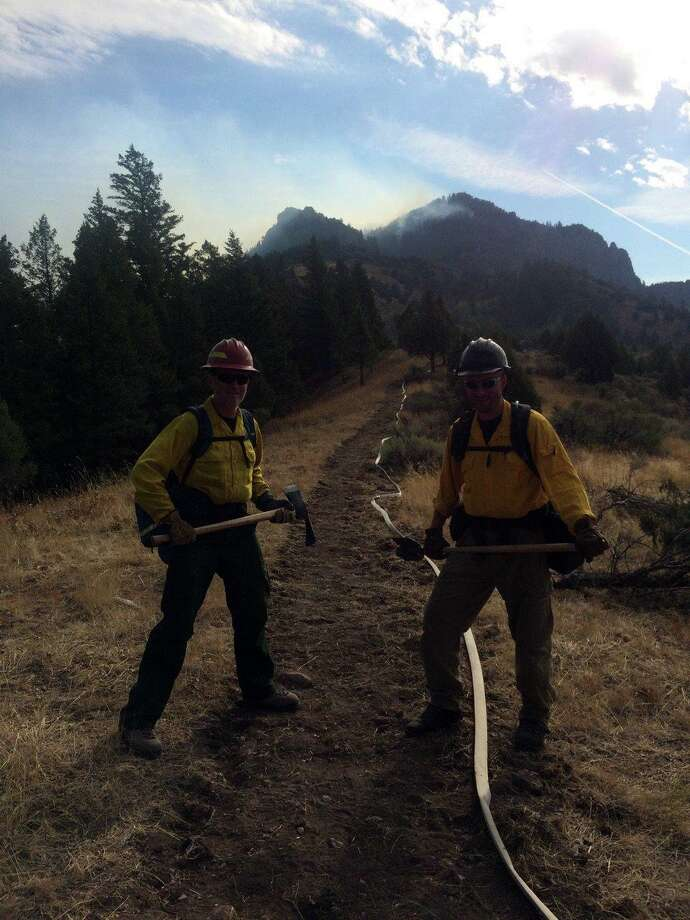 Wsetport Fire Chief Robert Yost, left, and Westport Fire Deputy Chief Mike Kronick, right, have used their experience combating wildfires to handle the coronavirus pandemic. Photo: Contributed Photo