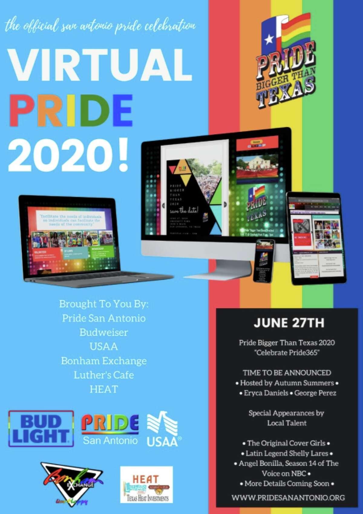 Pride San Antonio announced Friday that the annual Pride Bigger Than Texas celebration will move to a virtual platform amid the coronavirus pandemic.