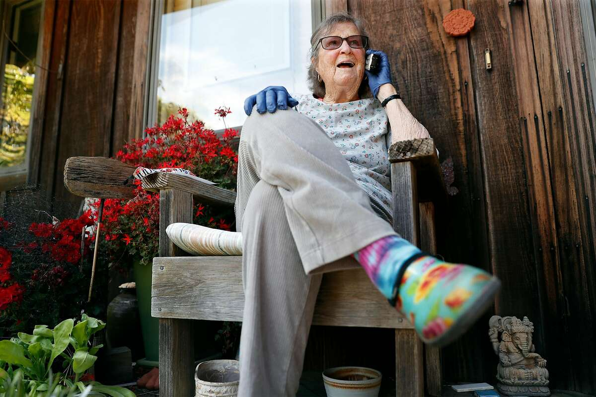 Patsy Bannerman talks with a telenurse at her home in Point Reyes Station, Calif., on Thursday, April 30, 2020.