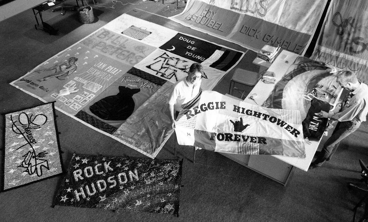 July 28, 1987: Cleve Jones with the AIDS Memorial Quilt in San Francisco.