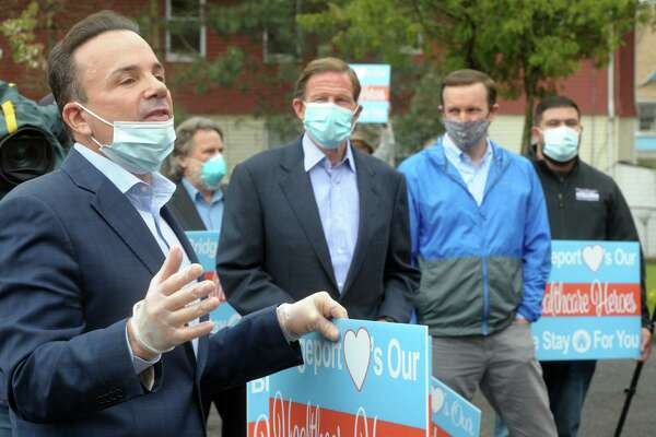 Mayor Joe Ganim speaks during a thankyou rally in front of Northbridge Health Care Center in Bridgeport, Conn. May 1, 2020. Several elected officials stopped at Northbridge Friday to thank the staff, where dozens of COVID-19 patients have been sent for recovery.