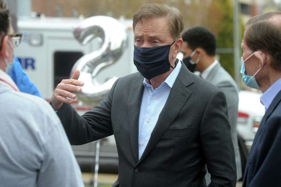 Gov. Ned Lamont wants state resident to remain vigilant in the coronavirus crisis, and wear masks in public while keeping social distances of at least six feet from others. Photo: Ned Gerard / Hearst Connecticut Media / Connecticut Post
