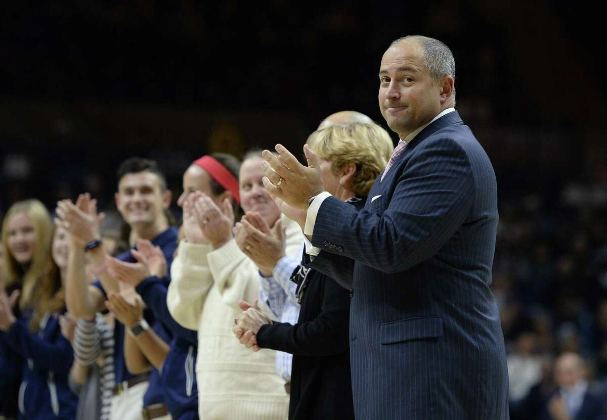 University of Connecticut athletic director David Benedict during an NCAA women's college basketball game, Thursday, Dec. 1, 2016, in Storrs, Conn. (AP Photo/Jessica Hill)