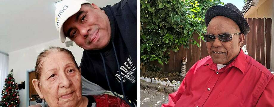 Left: Jaime Patiño and his paternal grandmother, Emma Patiño, pose for a photo in 2018 at Gateway Care and Rehabilitation Center in Hayward. Right: Ghebremichael Ghebreselasie is now at the center and has tested positive for the coronavirus. Photo: Courtesy Patiño And Kifle Familes