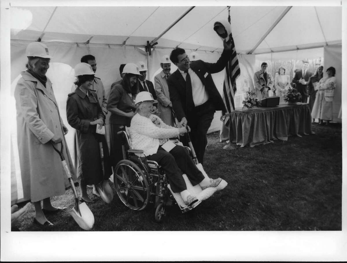 This week in 1994, Dorothy Hourigan, a resident of the Eddy-Ford nursing home in Cohoes, formerly the Cohoes Hospital, takes part in groundbreaking cerenmonies Monday morning for a 42 -bed addition to the home. At her rleft waving his hard hat is Richard Ianello, executive director of the nursing home and rehabilitation center campus. May 2, 1994 (Paul Kniskern/Times Union Archive)