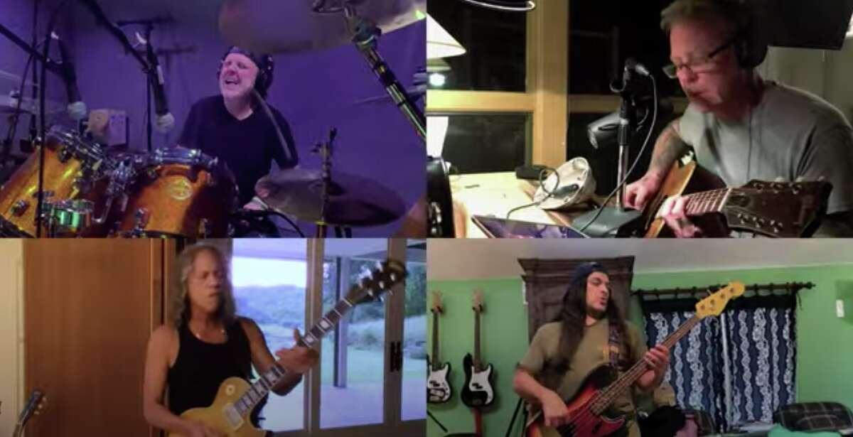 Members of the band Metallica (clockwise from top left) Lars Ulrich, James Hetfield, Robert Trujillo and Kirk Hammett play