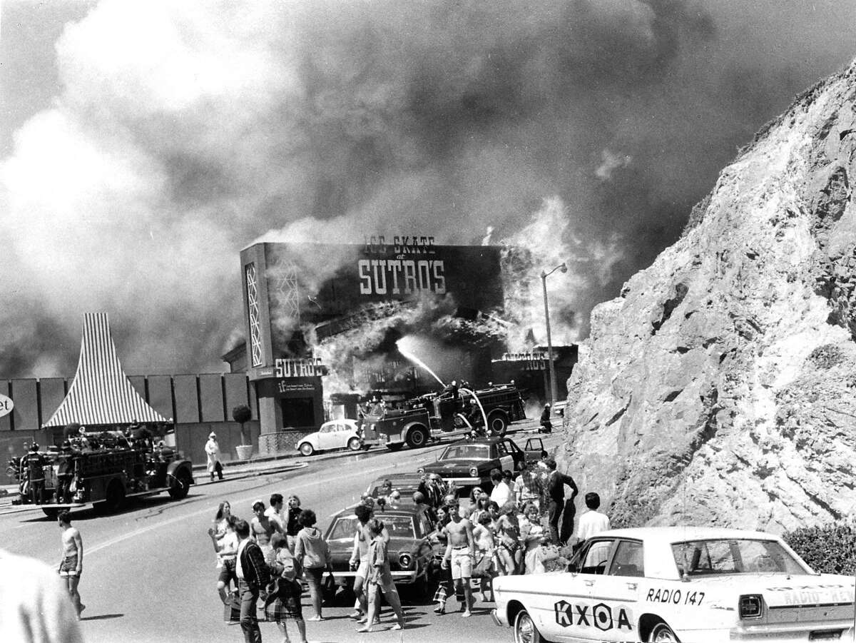 Sutro Baths in San Francisco burns during a fire in June 1966. This photo was taken by an amateur photographer at the scene.