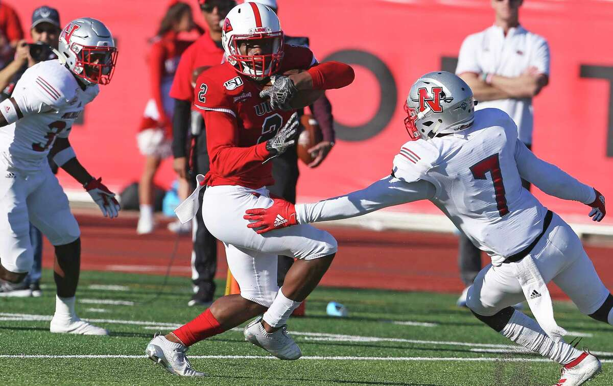 Cardinal receiver CJ Hardy turns back to the middle after a catch in the second quarter as UIW hosts Nicholls State at Benson Stadium on Nov.2, 2019.