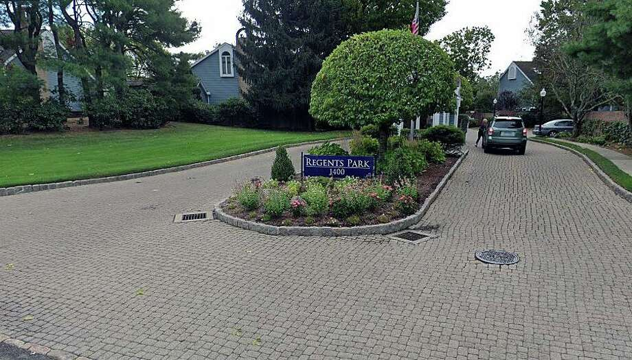 Police and fire units responded to the Regents Park Condominium complex at 1400 Post Road East in Westport, Conn., on Friday, May 1, 2020, for a report of a possible explosive item found in a unit, according to Police Lt. Anthony Prezioso. This image shows a Google Streetview screenshot of an entrance/exit to the complex. Photo: Contributed Photo