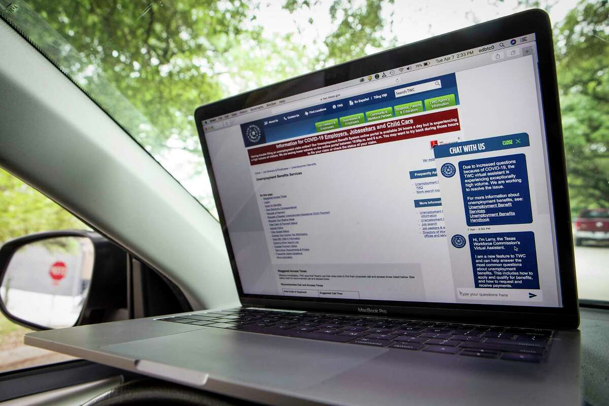 Shown is the Texas Workforce Commission website, which has added a virtual assistant chat feature to help people affected by COVID-19. The governor said the workforce commission, which administers unemployment benefits, will allow some groups of people to choose not to return to work if their employers recall them.