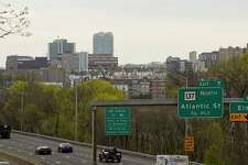 A view of Stamford, Conn. skyline, from the Maher Road bridge on the East Side. Stamford is a key part of Connecticut's economy, which 20,400 jobs in August 2020, according to state Department of Labor data.