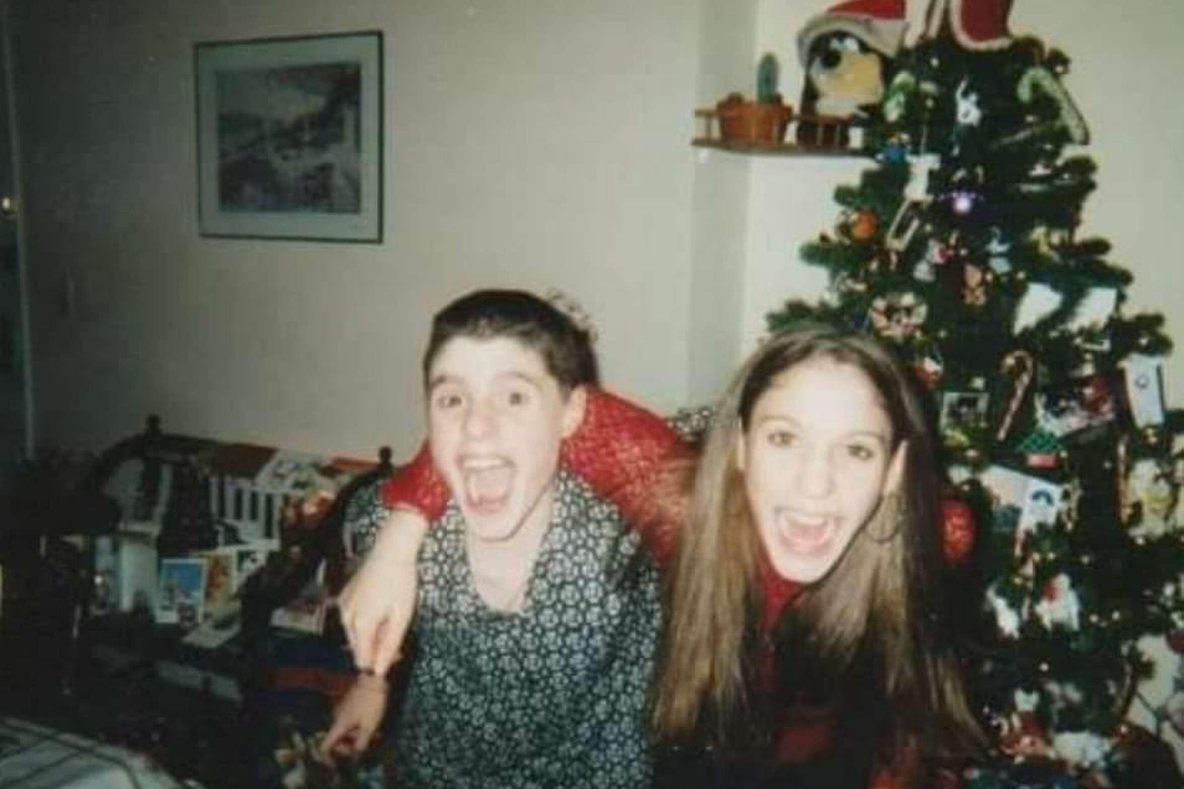 Dan Spano and his sister, Melissa Castiglia, on Christmas Eve around 2001.