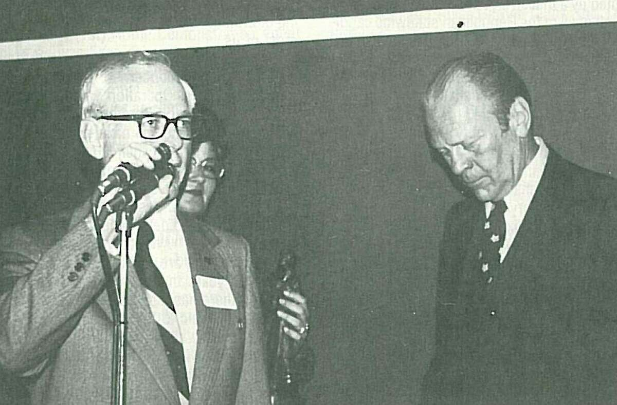 """Dr. Walker """"Wally"""" Wilkerson announces President Gerald Ford when Ford visited Conroe in 1976."""