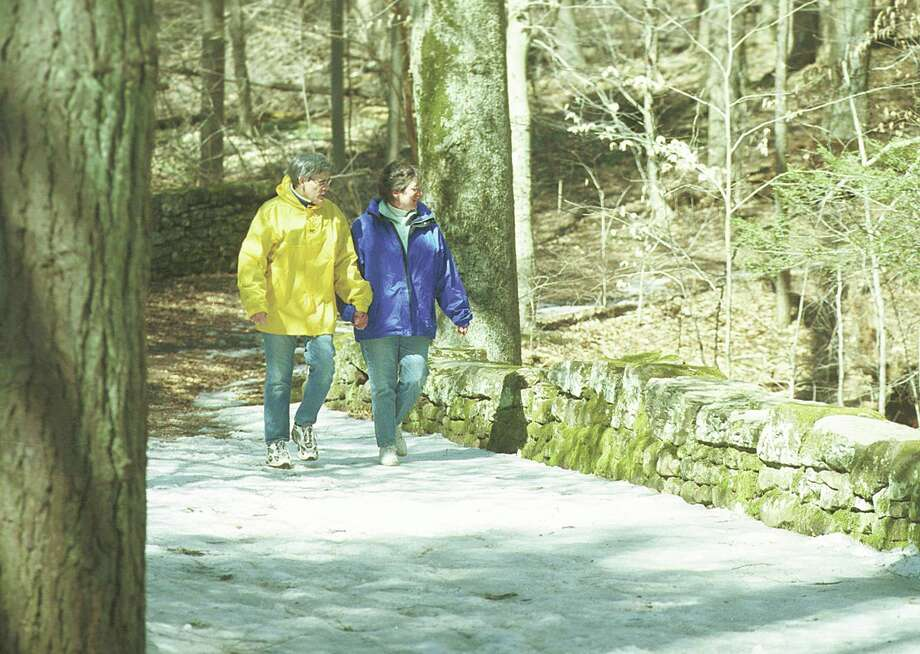Geoff and Shirley Harris of Middletown check out the senery while walking through Wadsworth Falls State Park in Middletown........photo by Irena Pastorello...........032601.irenaphoto