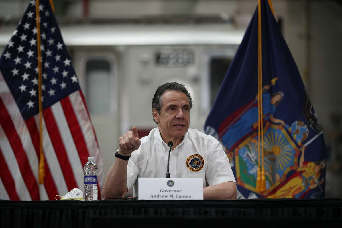 New York Governor Andrew M. Cuomo visits the maintenance facility of the Metropolitan Transportation Authority (MTA) and speaks about Covid-19 pandemic in Queens, New York City, United States on May 2, 2020. (Photo by Tayfun Coskun/Anadolu Agency via Getty Images)