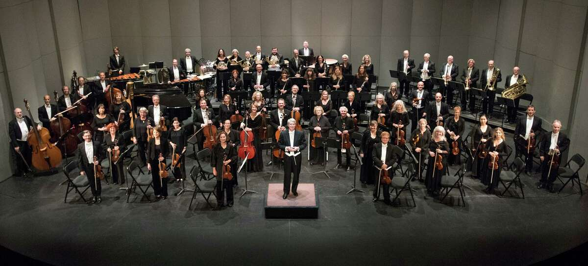 """Michael Stern is seen with the Stamford Symphony, which recently dedicated a performance of """"Amazing Grace"""" to front-line health care workers. Each musician's solo recording, done from home, was stitched into an inspiring video by operations manager Tony Melone. Stern says Melone is """"our resident genius in all departments"""" and a pianist who understands music and technology."""