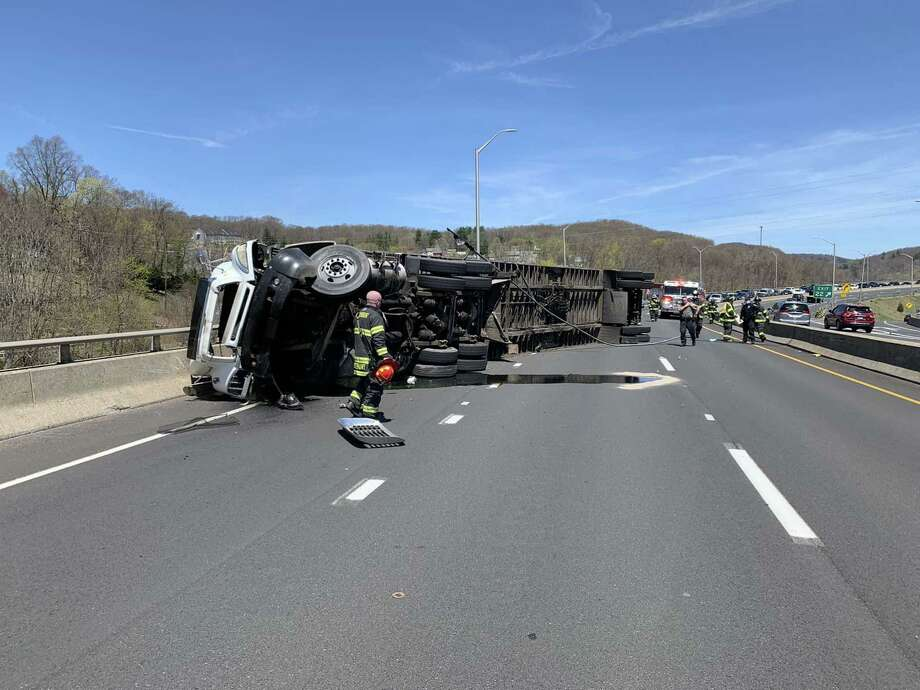 A rollover on Route 8 south in Seymour, Conn., on Saturday, May 2, 2020. Photo: Contributed Photo / Great Hill Hose Company