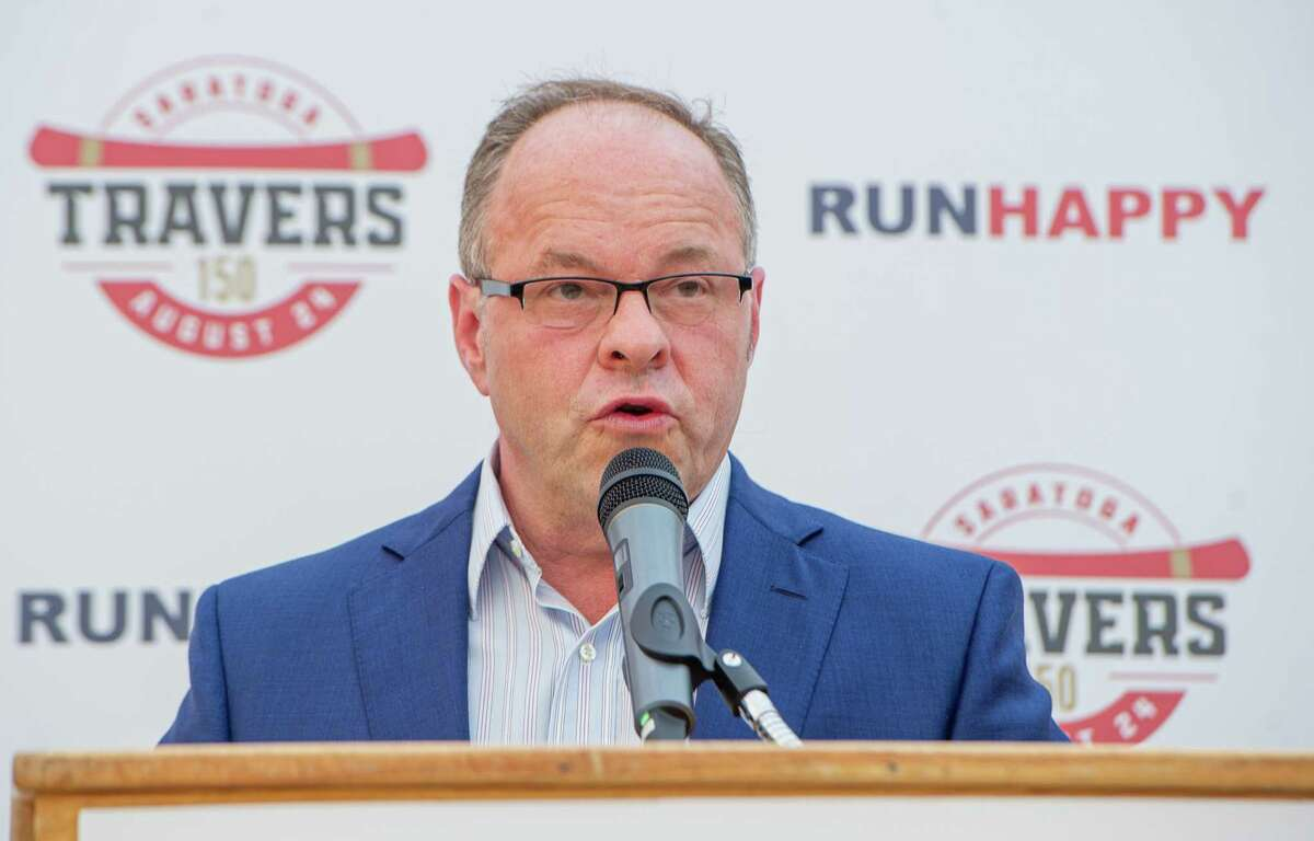 Saratoga track announcer Larry Collmus during the draw for the 150th Running of the $1.25 million Travers Stakes at the Adelphia Hotel in Saratoga on Tuesday, Aug. 20, 2019 (Jim Franco/Special to the Times Union.)