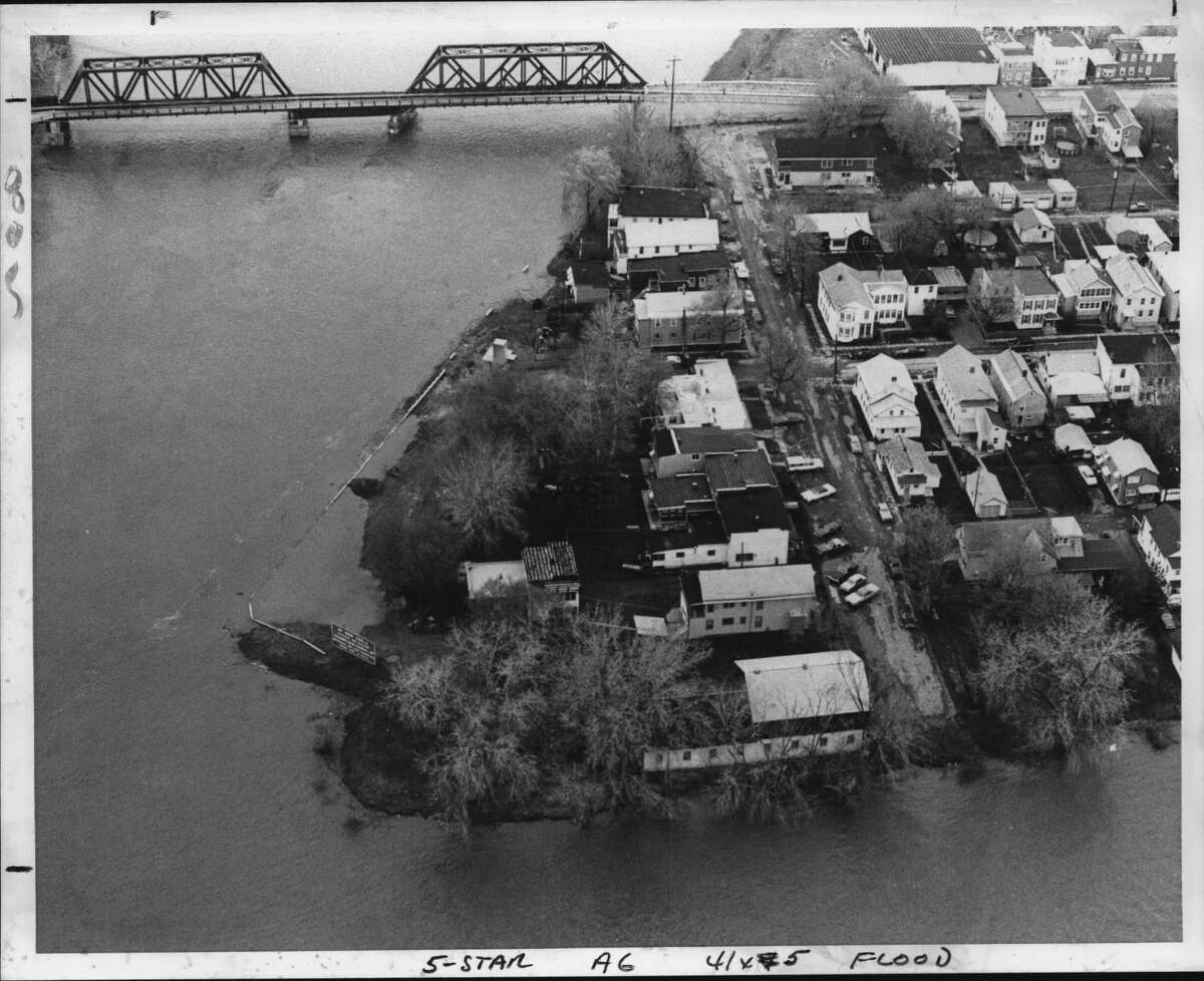 Aerial view of flood water on Front Street, Waterford, New York - floods in Albany area. May 3, 1983 (Times Union Archive)